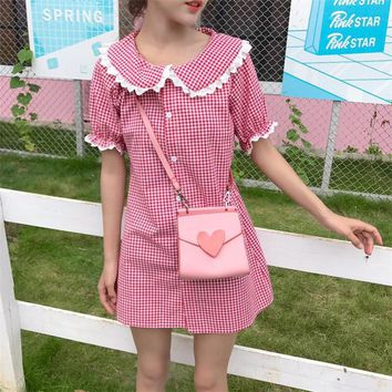 Ukraine Womens Casual Wear dresses Summer New Japanese girl Moe Harajuku Kawai doll collar thin short sleeve vadim Plaid dress