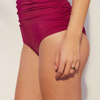 Rose Ruched High-Waisted Bikini Bottoms - Urban Outfitters