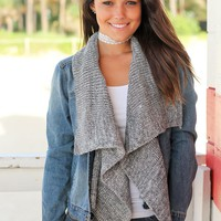 Denim Jacket with Gray Draped Front