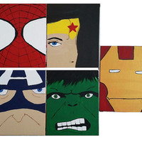 Set of 5 hand painted super hero canvas boards