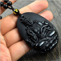 Natural Obsidian Necklace Fashion Black Ruyi Guan Yin Pendant For   Vintage Fine Jade Jewelry Ornaments