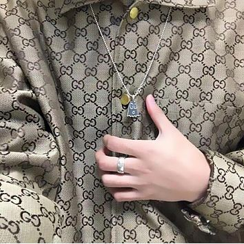 GUCCI Fashion Vintage Women Men GG Letter Jacquard Lapel Long Sleeve Denim Cardigan Jacket Coat Khaki