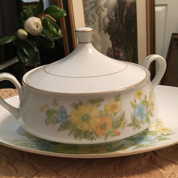 Ekco International Casserole Dish and Serving Platter, Spring Bouquet Pattern, Yellow and Blue Flowers, Gold rim, Fine China, Excellent Con