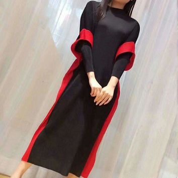Fake Two Pieces Dress For Women Miyak Pleated Loose Stand Collar Plus Size High Street Female Dress Tide D98