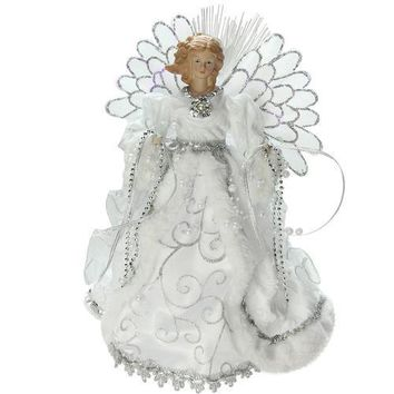 """13"""" Lighted B/O Fiber Optic Angel with White Gown Christmas Tree Topper"""
