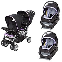 Purple Double Sit N Stand Twin Stroller Travel System Bundle with 2 Car Seats