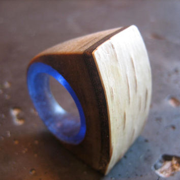 Birch log and Indigo blue resin ring - RESERVED