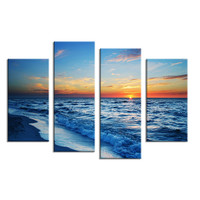 Hot Sells 4 Panels coast beach sunrise picture  Wall Art Home Decoration Living Room Print On Canvas Modern Painting