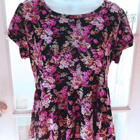 Vintage Short Sleeve Floral Top, Pink / Black Floral Print Ladies Top Size S / M
