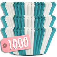 Turquoise Circus Stripe Baking Cups 1000