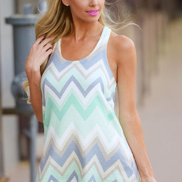 Out Of Your Shell Chevron Tank - Mint