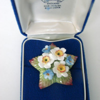Vintage Aynsley England Bone China Brooch / Hand Painted / Floral Motif / Original Box / Jewelry / Jewellery
