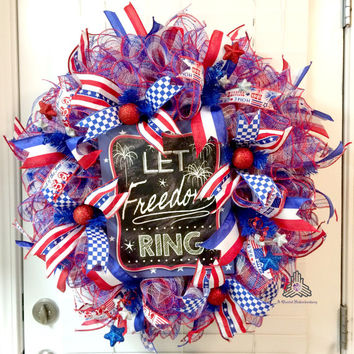 Let Freedom Ring Patriotic Ruffle Deco Mesh Wreath