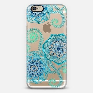 Sweet Teal & Blue Floral Doodle on Transparent iPhone 6 case by Micklyn Le Feuvre | Casetify