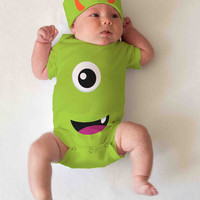 Monster Halloween baby infant one piece - bodysuit short sleeve hat set- Halloween Costume snap suit