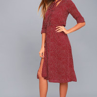 Save a Spot Burgundy Polka Dot Long Sleeve Midi Dress