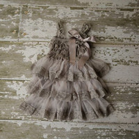 DELUXE Flower Girl Dress - Baby Lace Dress - Rustic - Country Flower Girl - Grey  Lace dress - Bridesmaid  -  Lace Flower girl dress - Cream