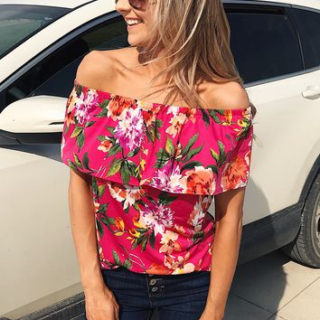 Tropical Oasis Off The Shoulder Floral Top- Fuchsia
