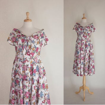 80s Dress / 80s Cotton Dress / Fit and Flare Dress / 80s Country Style Dress / Garden Party Dress / 80s Feminine Dress
