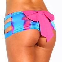 iHeartRaves Tie Dye Cut-Out Bow Rave Booty Shorts (Small)