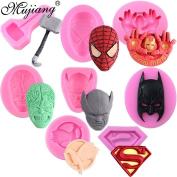 Superman Logo Spiderman Batman Film Character Molds Silicone Cake Mold DIY Chocolate Candy Moulds Fondant Cake Decorating Tools