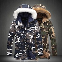 Fur Hooded Bomber Jacket Mens Parka Coat Male 2017 New Winter Jacket Men Camouflage Casual Thick Warm Fashion Parkas Plus Size
