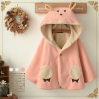 Cute cat lambs wool hooded thick cloak coat