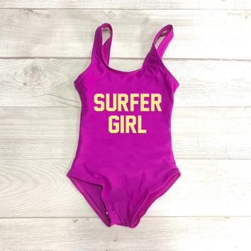 SURFER GIRL Letter Print Child Swimming Suit Swimwear Girls 1 One Piece Swimsuit Bathing Suit Baby Beachwear Gold Black mayo Red
