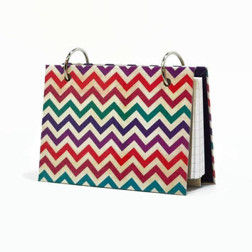 Chevron, 3 x 5 index card binder, daily memory journal, note card binder, index card holder with a set of index card dividers