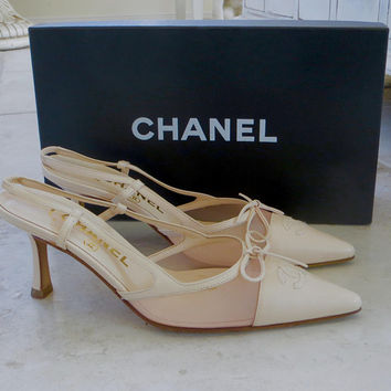 Vintage Chanel Slingback Pumps, Cream and Blush Pink, Size 36, Gently Used, Original Box