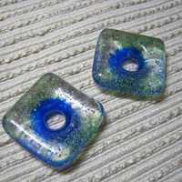 SQUARE Meditation Bead /  Blue Ring Green Sprinkles / Kiln Cast Glass  Donut /  Medium Focal Bead