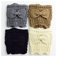 Adorable Bow Accent Knit Boot Toppers, Boot Cuffs