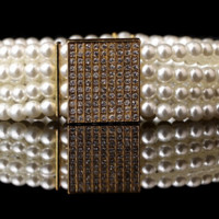 """30.50"""" - 38"""" gold faux pearl crystal stretch belt 1"""" wide bridal prom"""