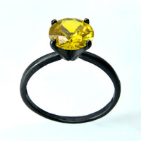 Sterling Silver Ring with Golden Topaz, Golden Topaz Cocktail Ring