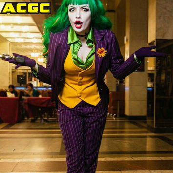 Halloween Costumes For Women Men Suicide Squad Joker Costume 5 Pieces/set Batman Joker Suit Cosplay Outfit Tuxe Fantasias Adulto