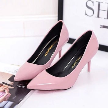 2017 Summer Shoes Pointed Woman High-heeled Patent Leather Suede Fine With Variety Of High-heeled 5cm Women Shoes 34-42