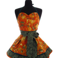 Pin Up Apron - Pumpkin Patch Double Skirt Bambino Amore Sweetheart PinUp Apron