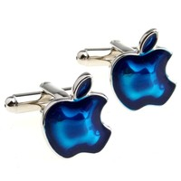 Blue Apple Computer Cufflinks Geek Tech