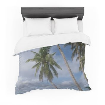 "Susan Sanders ""Blue Sky Ocean Palm Trees"" Blue Green Photography Featherweight Duvet Cover"