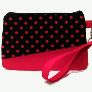 Polka Dot Wristlet Purse, iPhone Wristlet Clutch, Gift For Her, Small Spotted Wristlet Purse, Cell Phone Purse, Zipper Purse, Cotton Purse