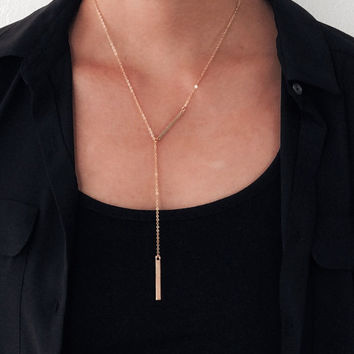 Gold Necklace Lariat Stick Necklace Thin Gold Bar Layering Long Modern Jewelry Gift Chic Beach Seaside C1