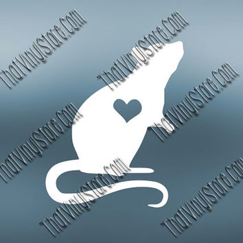 Preppy Rat Heart Love Decal | Rodent Rat Decal Decal | Mice Decal Decal | Preppy Mouse Decal| Preppy Animal Decal | Love Animal Decal | 565