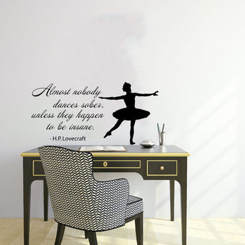 Quote About Dance Life Ballet with Dancer Ballerina Vinyl Decal Home Wall Decor Dance School Studio Stylish Sticker Unique Design Room V512