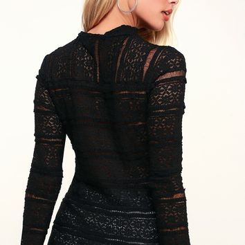 Performance Art Black Sheer Lace Long Sleeve Top