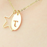 Initial Necklace gold star pendant Personalized Necklace Bridesmaid Gifts gift for her Personalized jewelry monogram gift sweet 16 gift