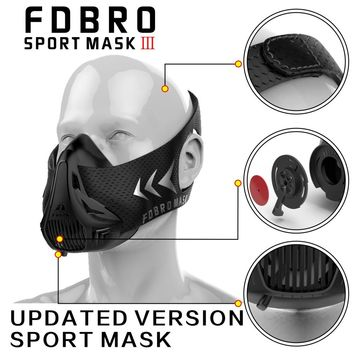 FDBRO Sports masks style black High Altitude training Conditioning training sport mask 2.0 with box phantom mask