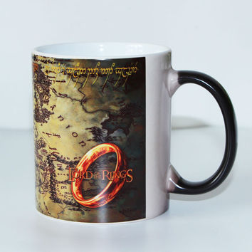 New design Middle Earth Map Lord of The Rings Color changing Morph Magic Mug Heat Sensitive Ceramic Tea cups gift
