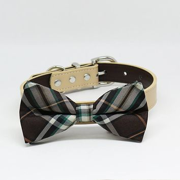 Brown Ivory Plaid Dog Bow Tie collar, Puppy lovers, Pet Wedding accessory