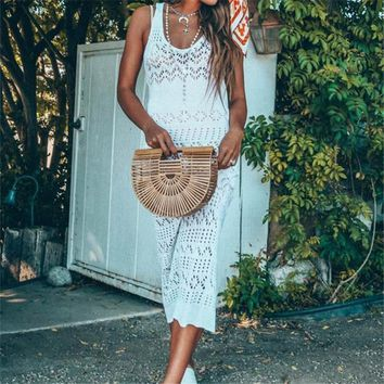 Long hollow out bohemian tunic dress for summer