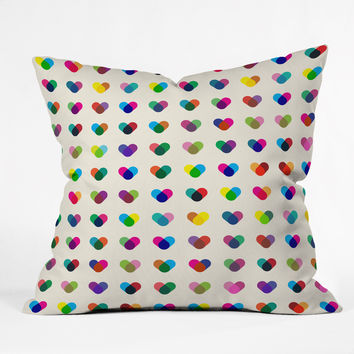 Fimbis Rainboheart Outdoor Throw Pillow